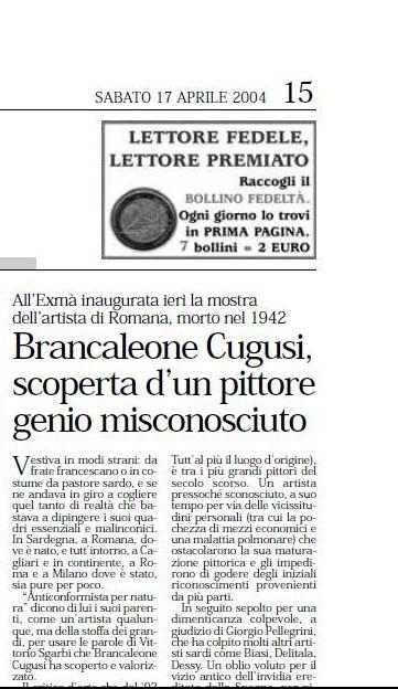 Brancaleone Cugusi, scoperta di un pittore