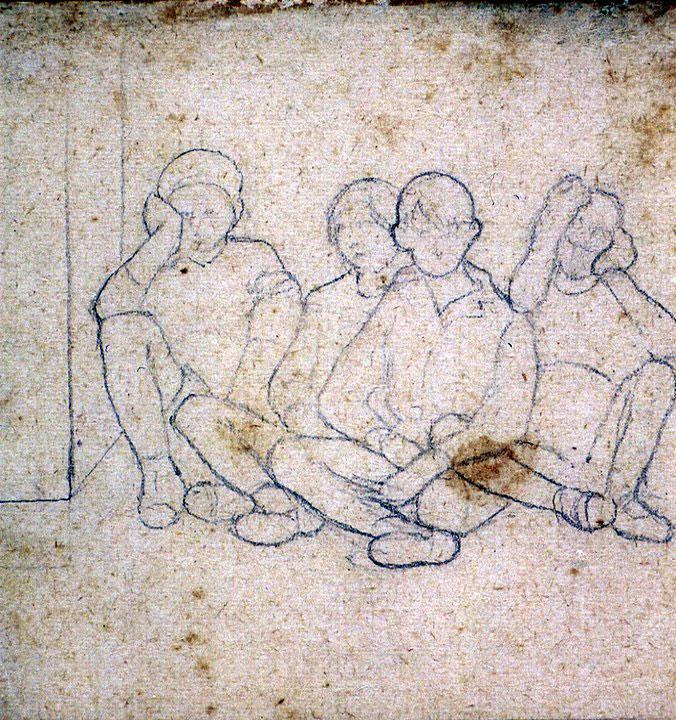 Disegni di Brancaleone Cugusi da Romana: studio per Quattro bambini