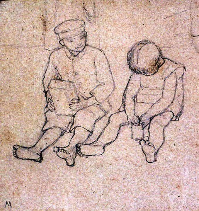 Disegni di Brancaleone Cugusi da Romana: studio per Due bambini
