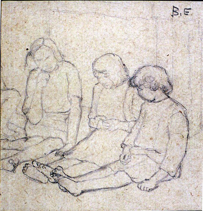 Disegni di Brancaleone Cugusi da Romana: studio per Tre bambine - 2