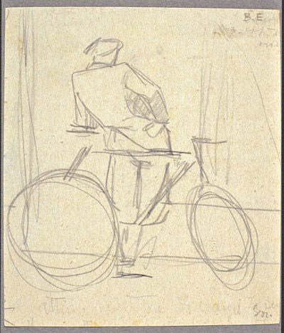 Disegni di Brancaleone Cugusi da Romana: studio per Ciclista