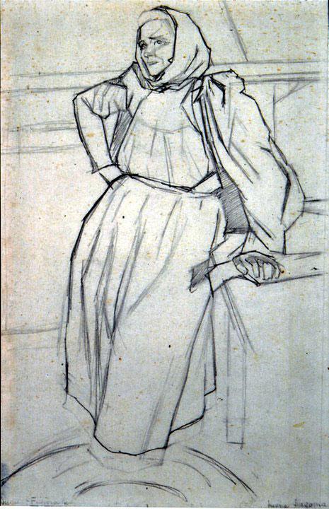 Disegni di Brancaleone Cugusi da Romana: studio per La vecchia sarda