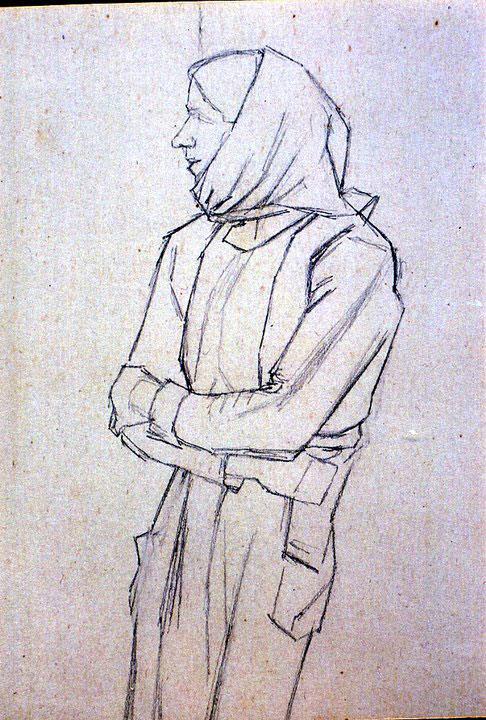 Disegni di Brancaleone Cugusi da Romana: Donna voltata a destra