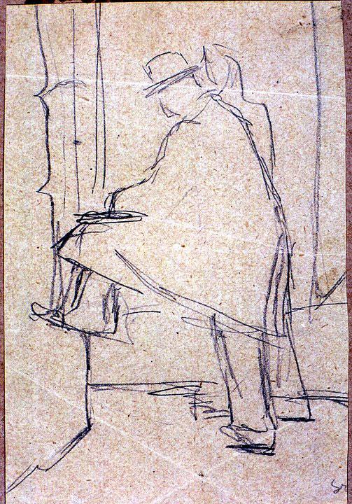 Disegni di Brancaleone Cugusi da Romana: Uomo con mantello e donna