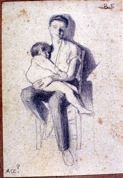 Disegni di Brancaleone Cugusi da Romana: studio per Uomo con bambino