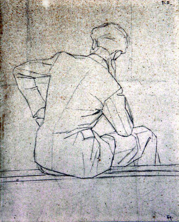 Disegni di Brancaleone Cugusi da Romana: studio per Giovane di spalle