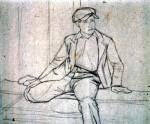 Disegni di Brancaleone Cugusi da Romana: Ragazzo seduto con berretto
