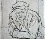Disegni di Brancaleone Cugusi da Romana: Uomo poggiato a un tavolo