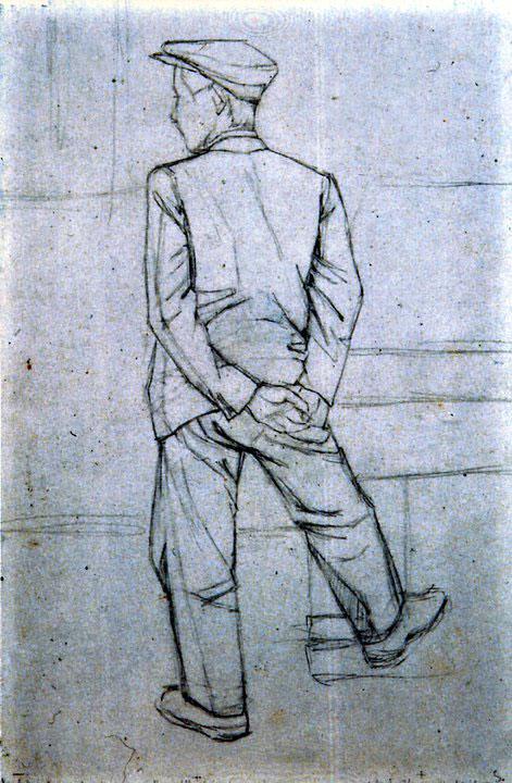 Disegni di Brancaleone Cugusi da Romana: studio per Uomo di spalle