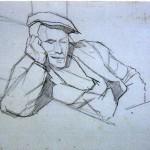 Disegni di Brancaleone Cugusi da Romana: studio per Uomo dormiente