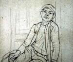 Disegni di Brancaleone Cugusi da Romana: studio per Ragazzo seduto