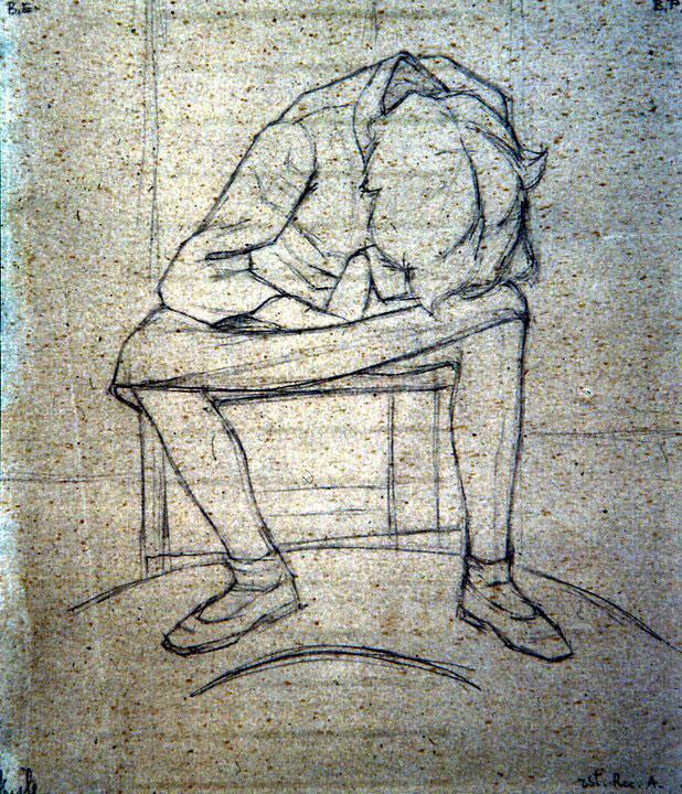 Disegni di Brancaleone Cugusi da Romana: studio per Ragazza chinata