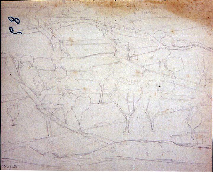 Disegni di Brancaleone Cugusi da Romana: studio per Paesaggio