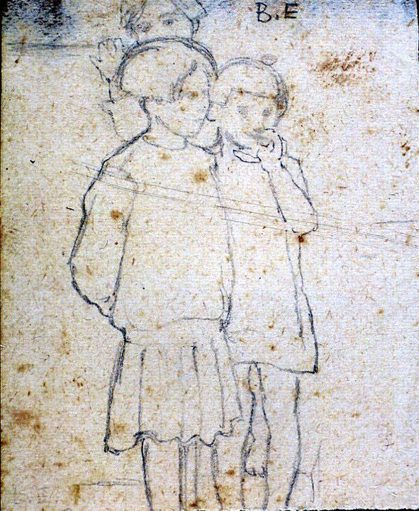 Disegni di Brancaleone Cugusi da Romana: studio per Tre bambine