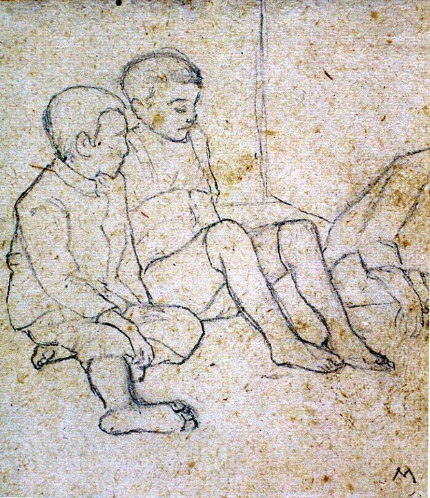 Disegni di Brancaleone Cugusi da Romana: studio per Tre bambini