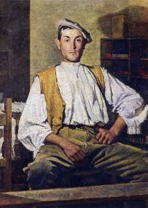 Opere di Brancaleone Cugusi da Romana: Contadino in verde (1938-1940)