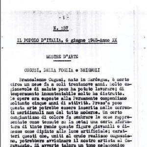06_06_1942 - Il Popolo d'Italia: mostre d'arte