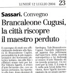Sassari Convegno Brancaleone Cugusi, la città riscopre il maestro